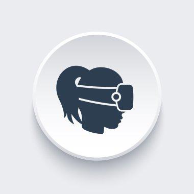 VR helmet icon, vr glasses, headset vector, virtual reality, vr pictogram, virtual reality headset round icon, vector illustration