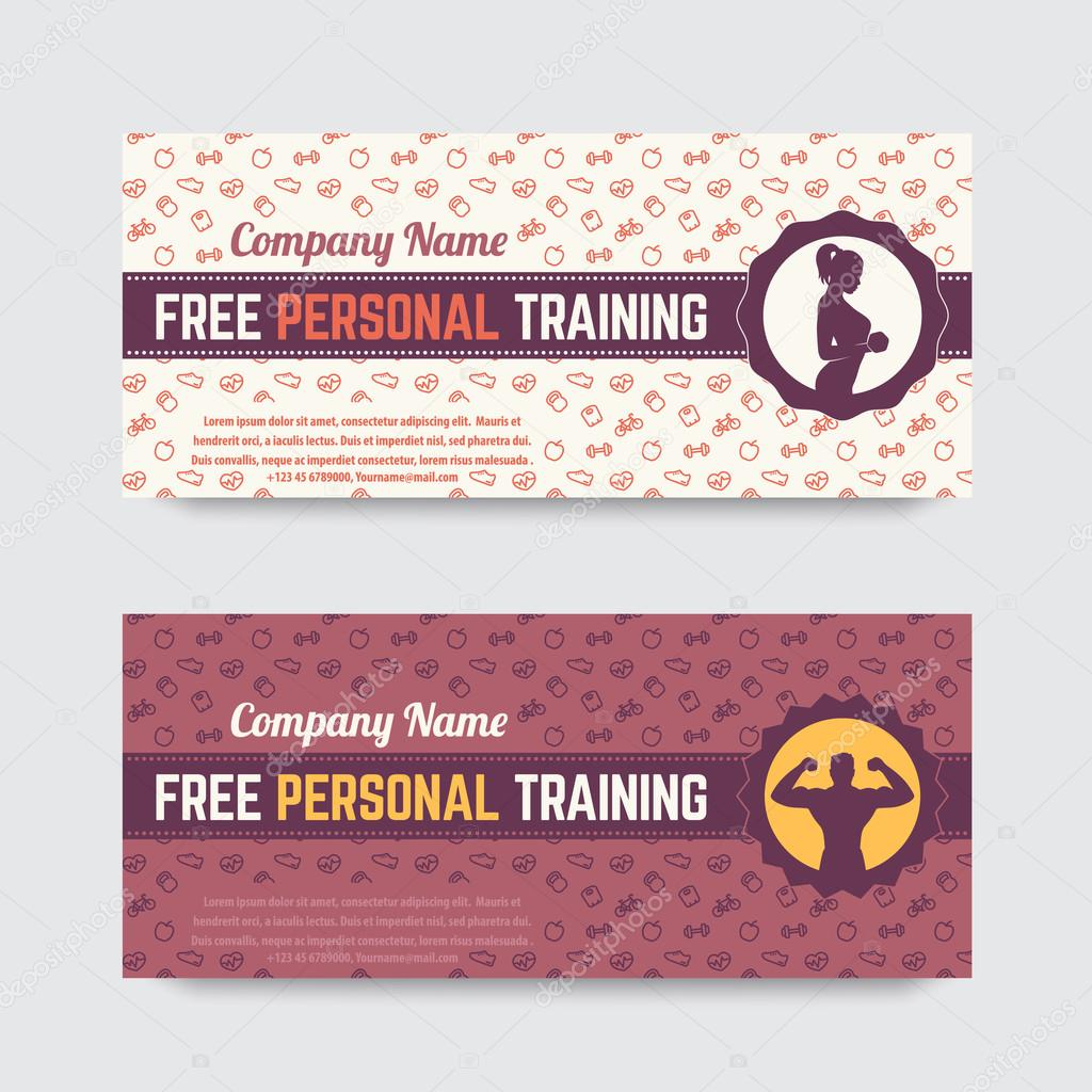 free personal training gift voucher design for fitness club gym
