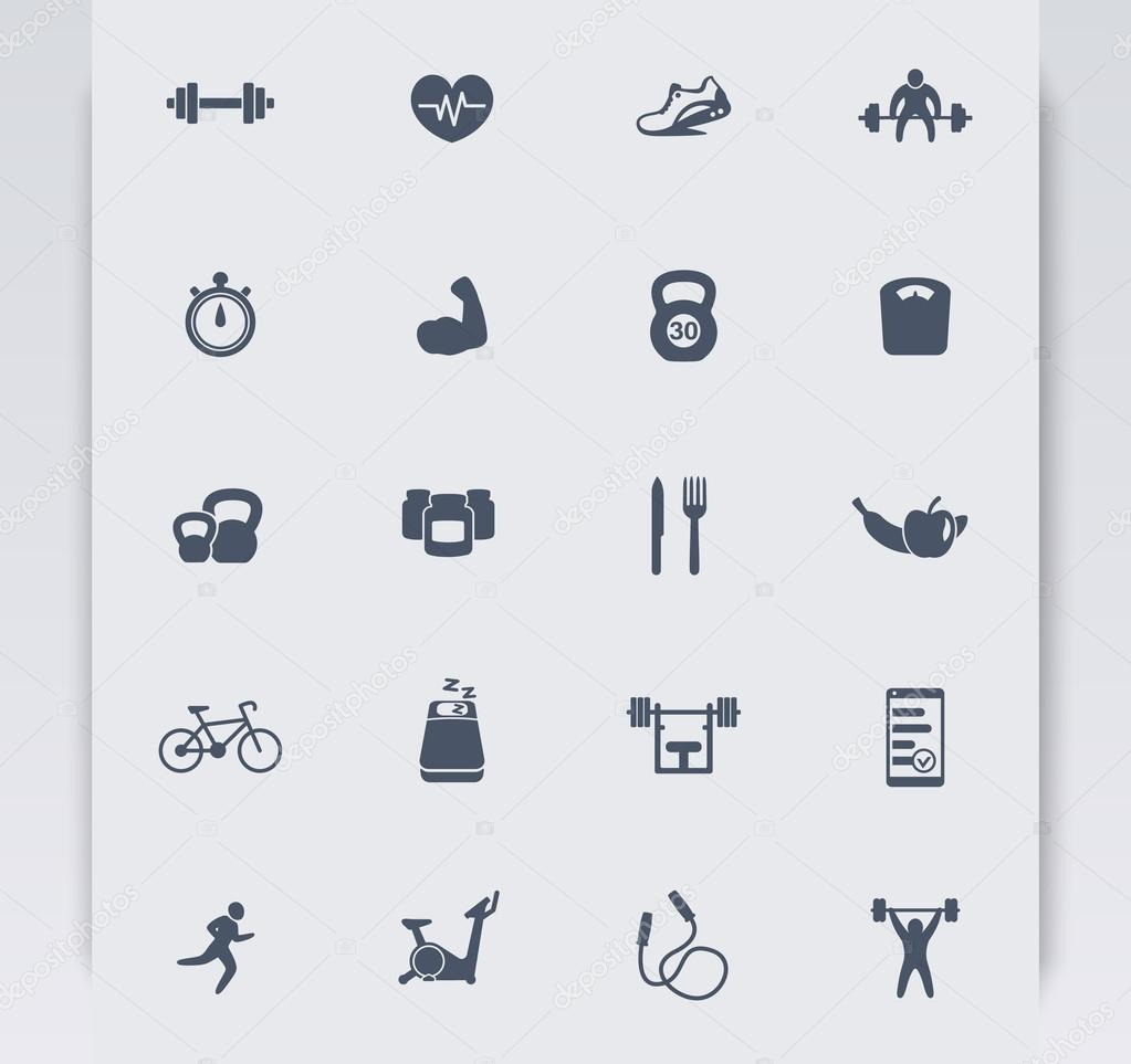 20 fitness icons, active lifestyle, fitness vector icons, gym, sport,  workout, training icons, fitness pictograms, vector illustration — nexusby의  벡터