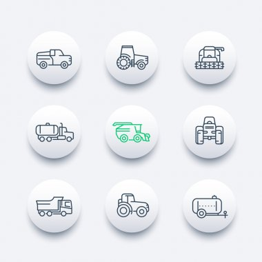 Agricultural machinery line icons, tractor, combine harvester, agricultural vehicles, grain harvesting combine, truck, pickup round modern icons set, vector illustration