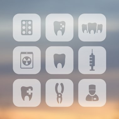 Teeth icons, stomatology, dental health care, tooth cavity, dental pliers, toothcare, rounded square transparent icons, vector