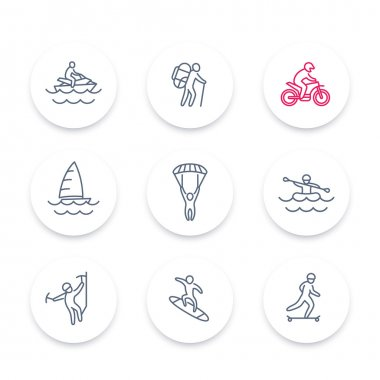 Extreme outdoor activities line icons set, extreme sports, recreation pictograms, round icons, vector illustration stock vector