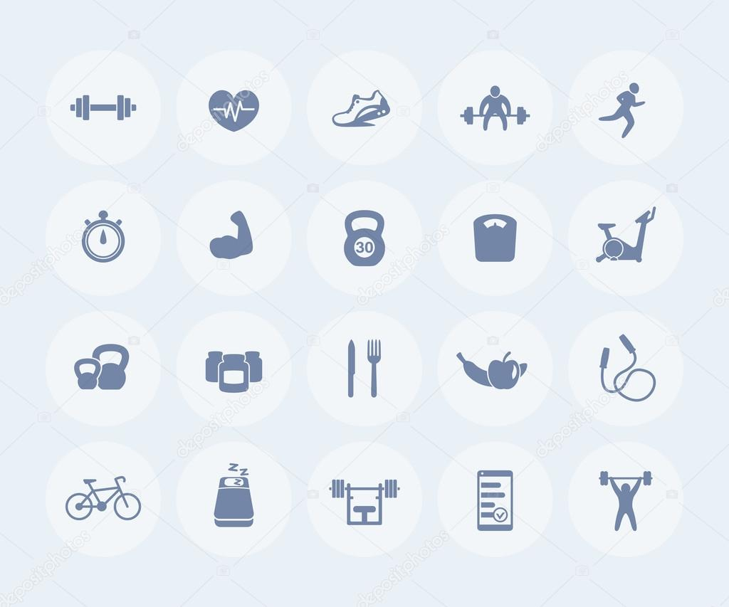 20 fitness icons, gym, workout, training, pictograms, round flat icons,  vector illustration — nexusby의 벡터