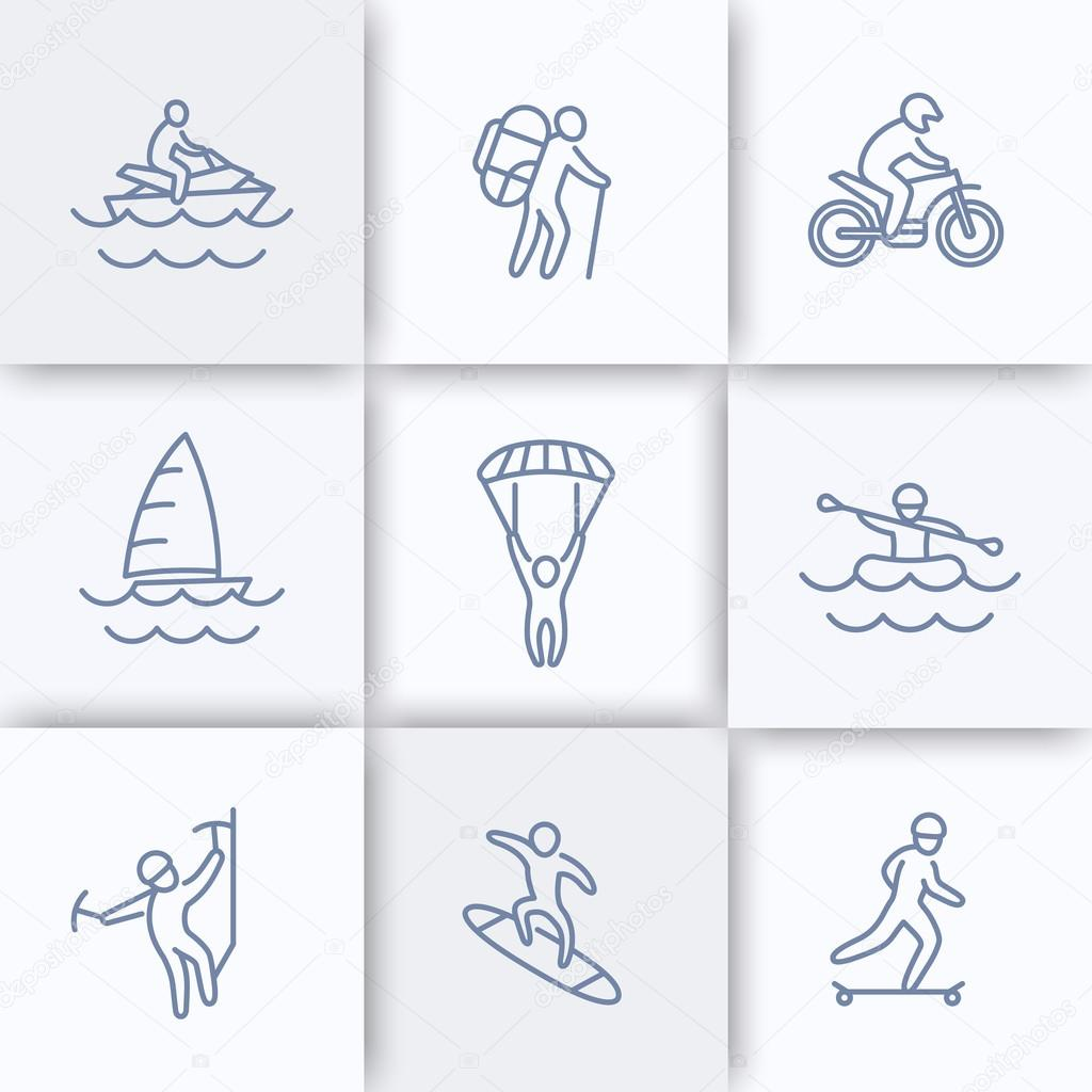 Extreme outdoor activities line icons, extreme sports, recreation pictograms, linear icons, vector illustration stock vector