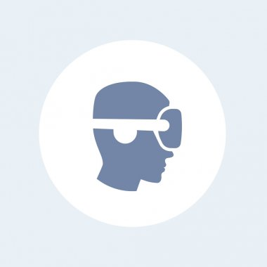 VR helmet icon, man in profile in virtual reality glasses vector, vr pictogram, virtual reality headset isolated icon, vector il