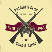 Fotografie Patriots club vintage logo with crossed automatic guns, gun shop vintage sign with assault rifles, gun store emblem, vector illustration