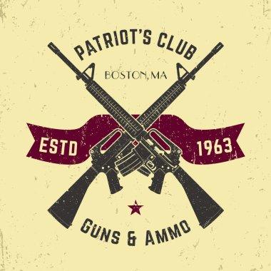 Patriots club vintage logo with crossed automatic guns, gun shop vintage sign with assault rifles, gun store emblem, vector illustration