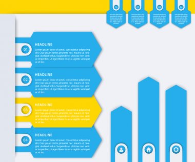 Business Infographics elements, 1, 2, 3, 4 labels, steps, timeline, growth arrows in blue and yellow, vector illustration
