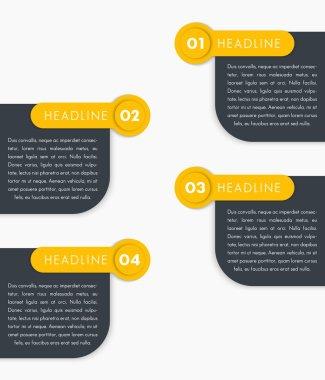 1,2,3,4, step labels, timeline, infographics elements, banners, vector illustration