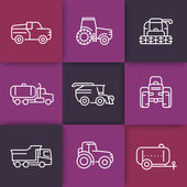 Agricultural machinery line icons, tractor, combine harvester, agricultural vehicles, grain harvesting combine, truck, pickup, linear icons on squares, vector illustration
