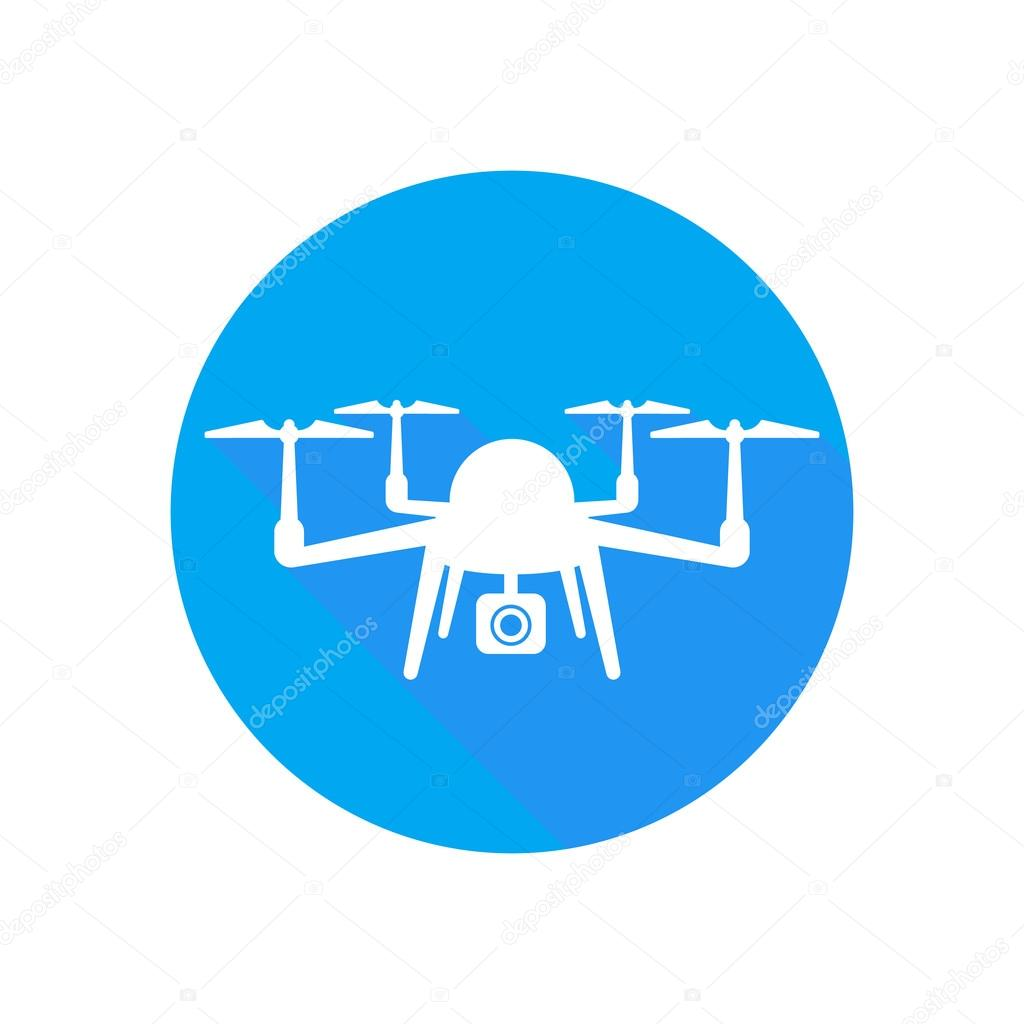 Drone Icon Aerial Photography With Camera Round Flat Isolated On White