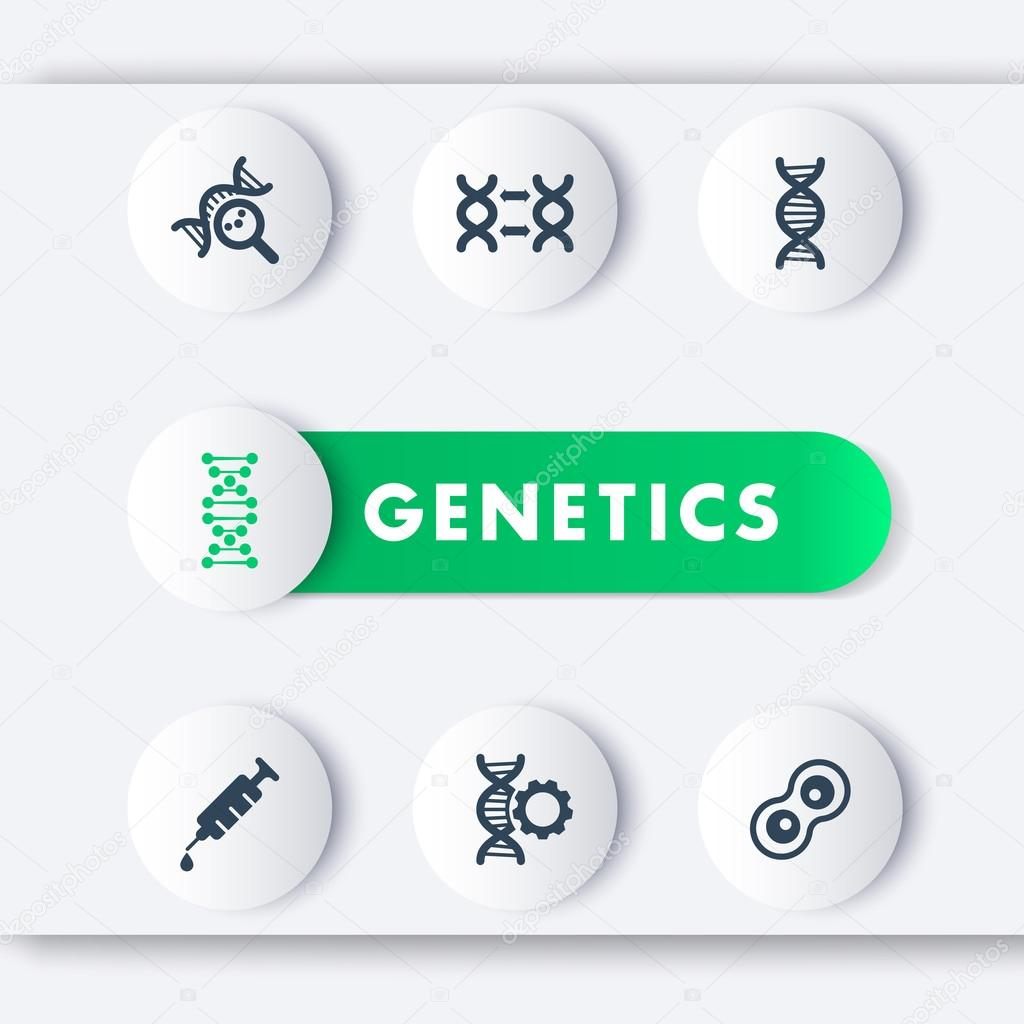 genetics icons set dna chain vector sign genetic modification dna
