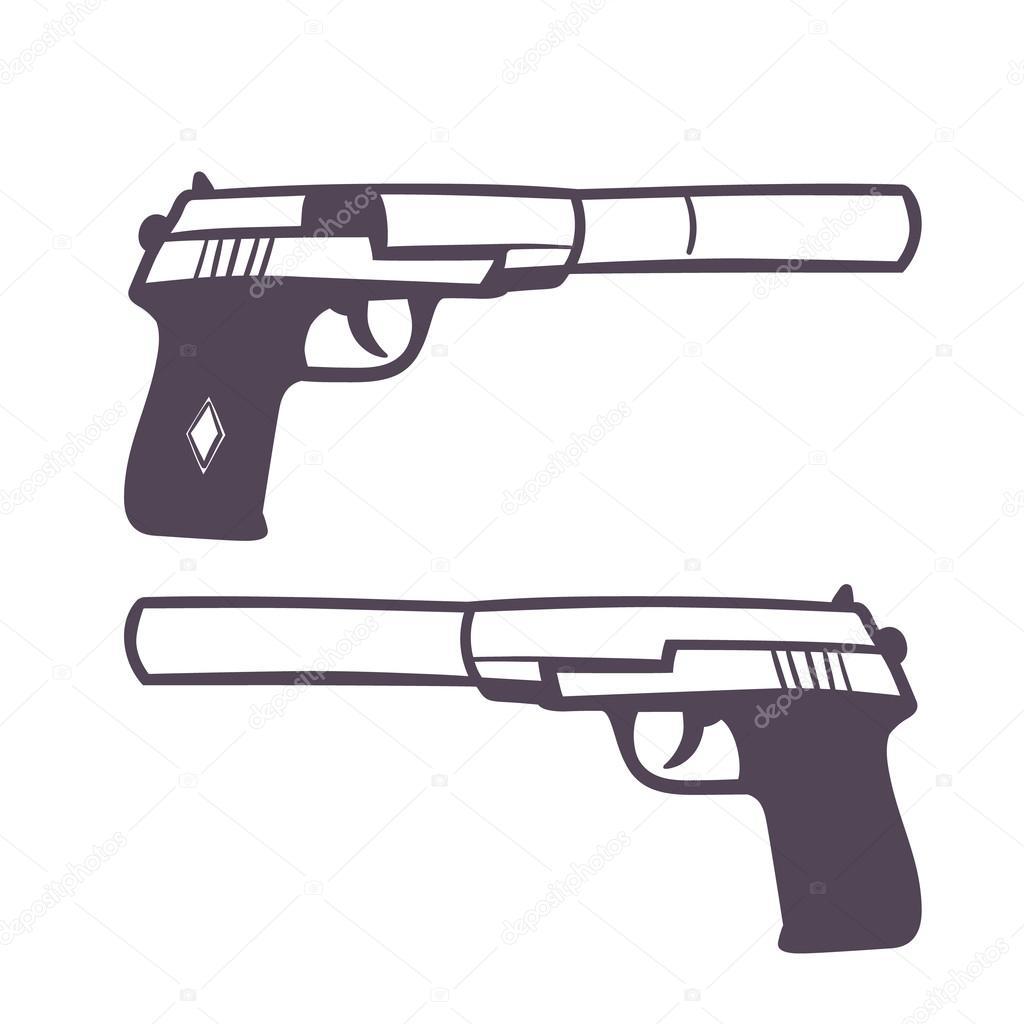 mano dibujada de la pistola con silenciador arma de fuego en blanco