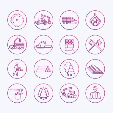 Logging icons, sawmill, forestry equipment, logging truck, tree harvester, timber, wood, lumber, thin line icons set, vector illustration