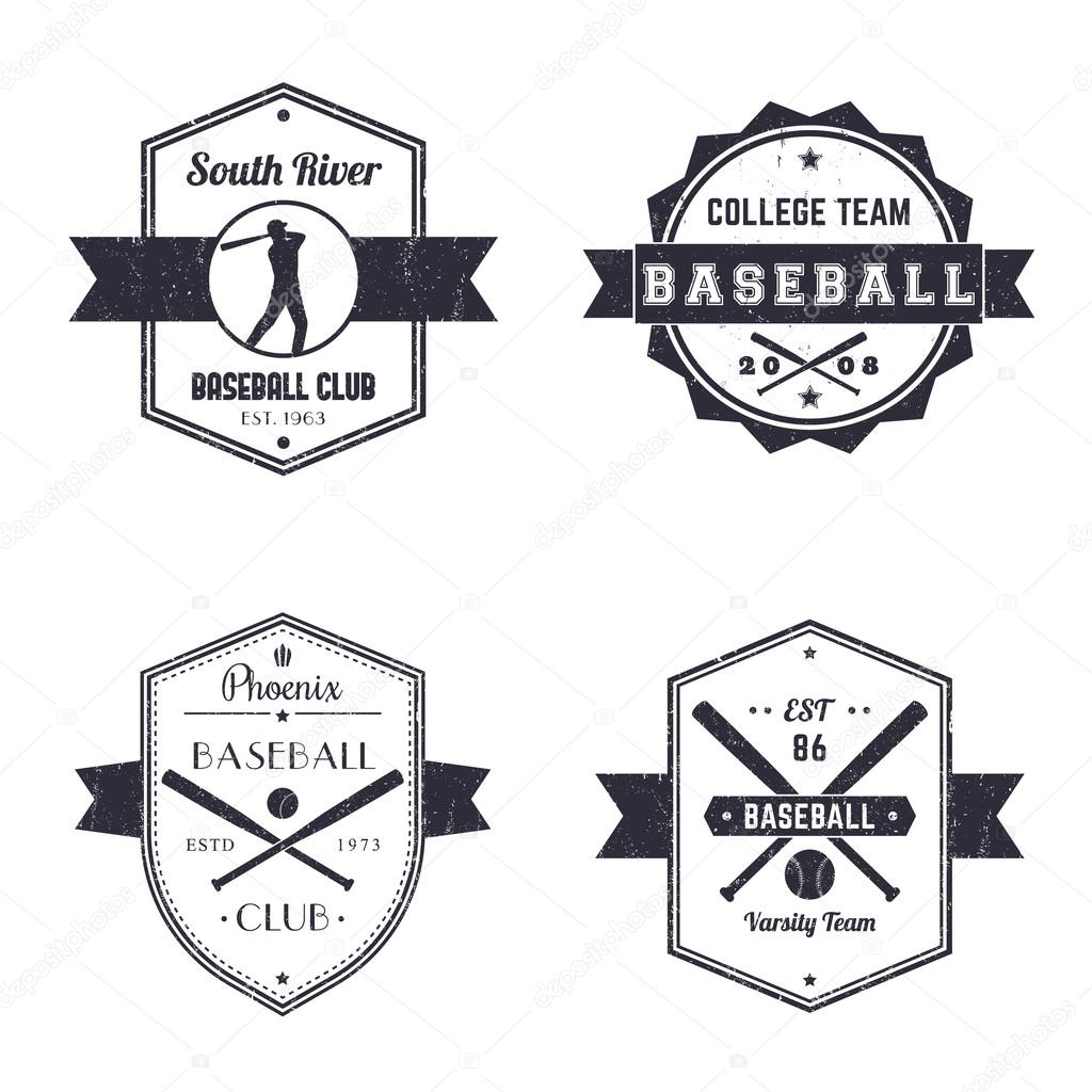 Baseball Club Team Vintage Logo Badges Player With Bat Crossed Bats And Ball Vector Illustration By Nexusby