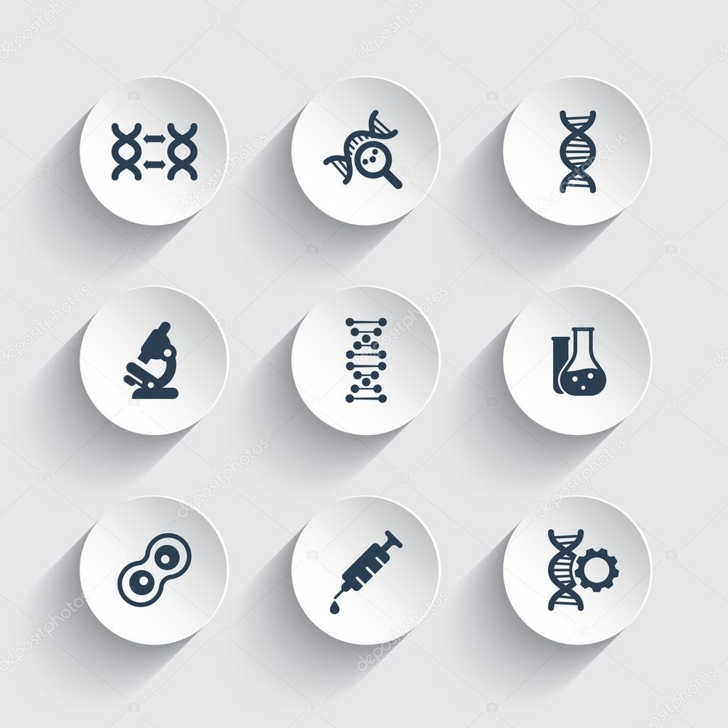 genetics icons dna chain vector sign genetic modification dna