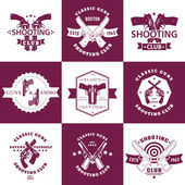 Fotografie Shooting Club, Guns and Ammo vintage emblems, t-shirt prints with revolvers, guns, pistols, logo with handguns, vector illustration