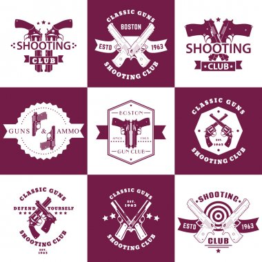 Shooting Club, Guns and Ammo vintage emblems, t-shirt prints with revolvers, guns, pistols, logo with handguns, vector illustration