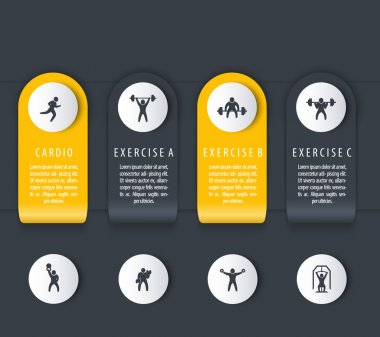 Gym training, workout, 4 steps, infographics elements, with fitness icons, dark version, vector illustration