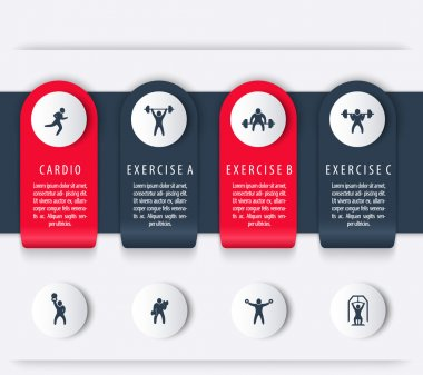 Gym training, workout, 4 steps, infographics elements, with fitness icons