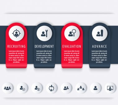 Staff, HR, employee development timeline template, steps, infographics elements, icons