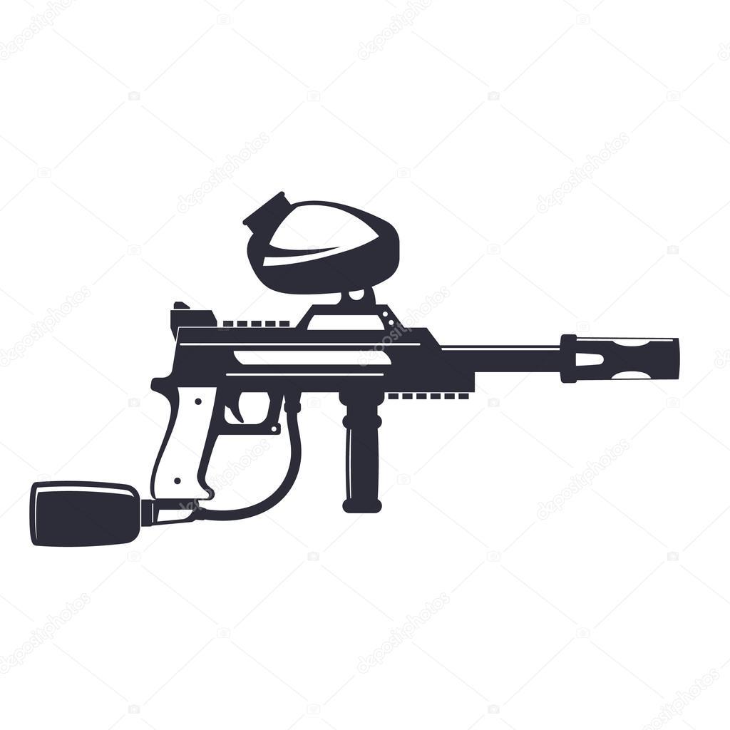 Paintball Gewehr Isoliert Auf Weiss Vektor Illustration