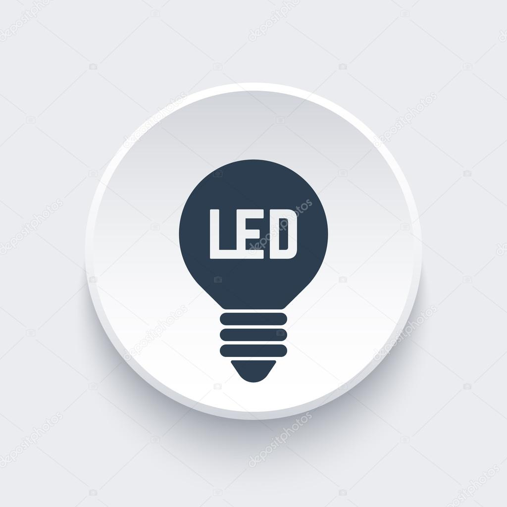 Led light bulb icon on round 3d shape stock vector nexusby led light bulb icon on round 3d shape stock vector biocorpaavc Images