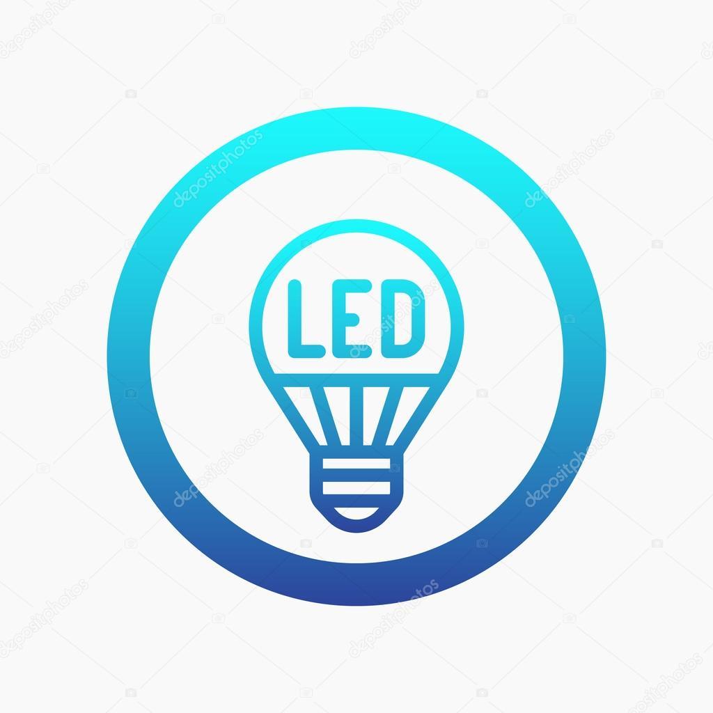 Led Light Bulb Line Icon On White Vector Illustration Stock
