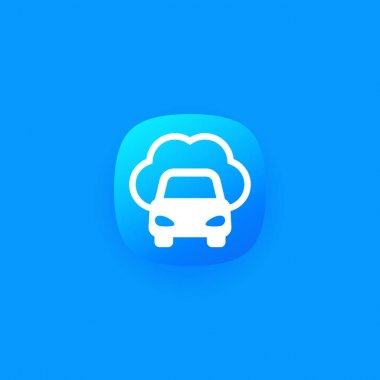 cloud technologies for transport, car vector icon