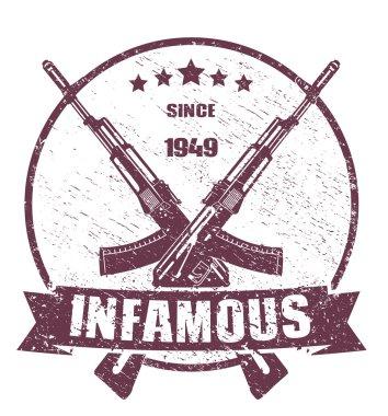 Infamous since 1949 emblem scratched