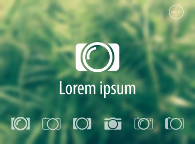 Camera flat icons on green blur background