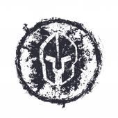 Grunge spartánské helmu, kulatý znak