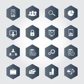 16 sechseckige Wirtschaftssymbole