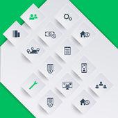 Fotografia 14 finanza, costi, tasse icone moderne su forme quadrate