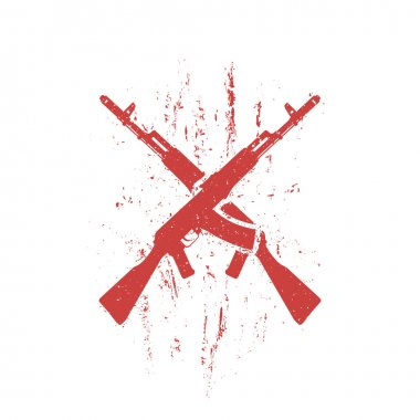Crossed assault rifles grunge design, isolated in red and white