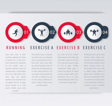 4 steps infographic elements, with exercise icons