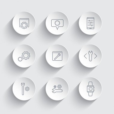 Settings, configuration, preferences line icons in round 3d shapes