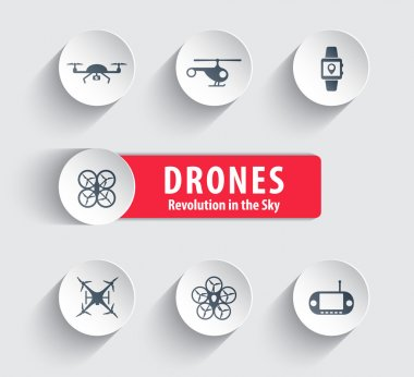 Drones round icons with shadow