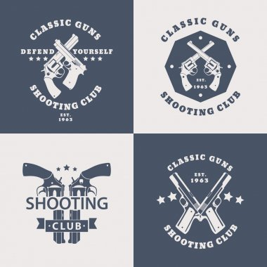 Shooting Club, vintage emblems with crossed modern revolvers, pistols