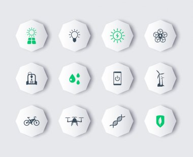 Green ecological modern technologies, modern octagon icons