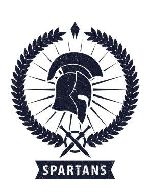 Emblem with spartan helmet scratched