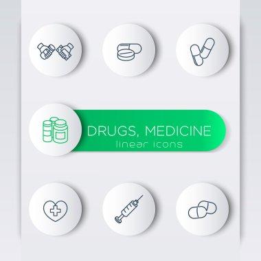 Medicine, drugs, pills, line round modern icons with banner