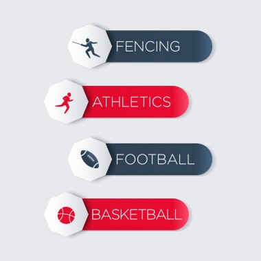 Fencing, Athletics, Football, Basketball labels, tags, banners