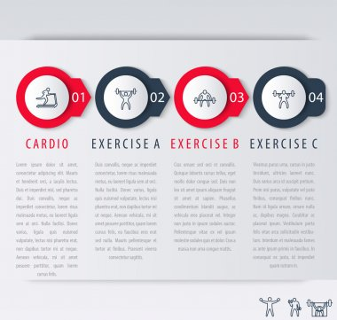 4 steps infographic elements, with line exercise icons