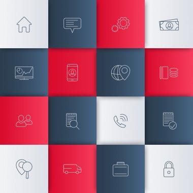 business, finance, enterprise, management linear icons