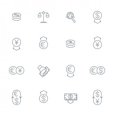 Currency, forex trading, dollar, euro, yuan, thin line icons