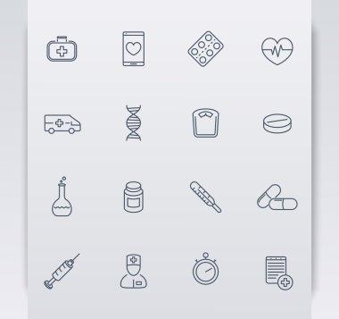 medicine, health care, pharmaceutics, hospital, pills, linear icons