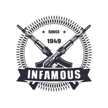 vintage emblem, sign, t-shirt design, print, infamous since 1949