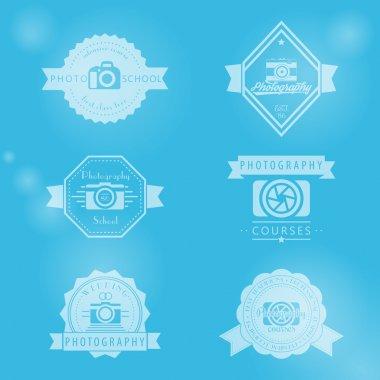 photography courses, photo school, photographer vintage logo, emblems, signs