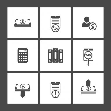 Bookkeeping, finance, flat square icons